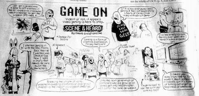 GAME ON Violent or not, it appears video gaming is here to stay... SCENE & HEARD (from Private Eye 2013) by David Ziggy Geene. Cartoon of the EuroGamer 2013 event, including a cartoon of Isaac playing Fifa with his feet.