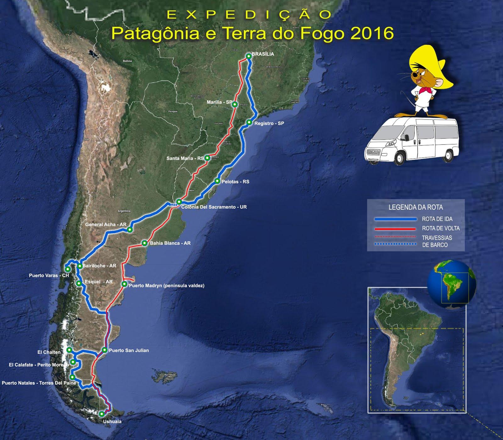 Mapa da viagem - Postagem 25.01.2016