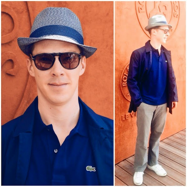 Benedict Cumberbatch Lacoste blue parka polo shirt Persol sunglasses Men's Final of Roland Garros French Tennis Open 2014