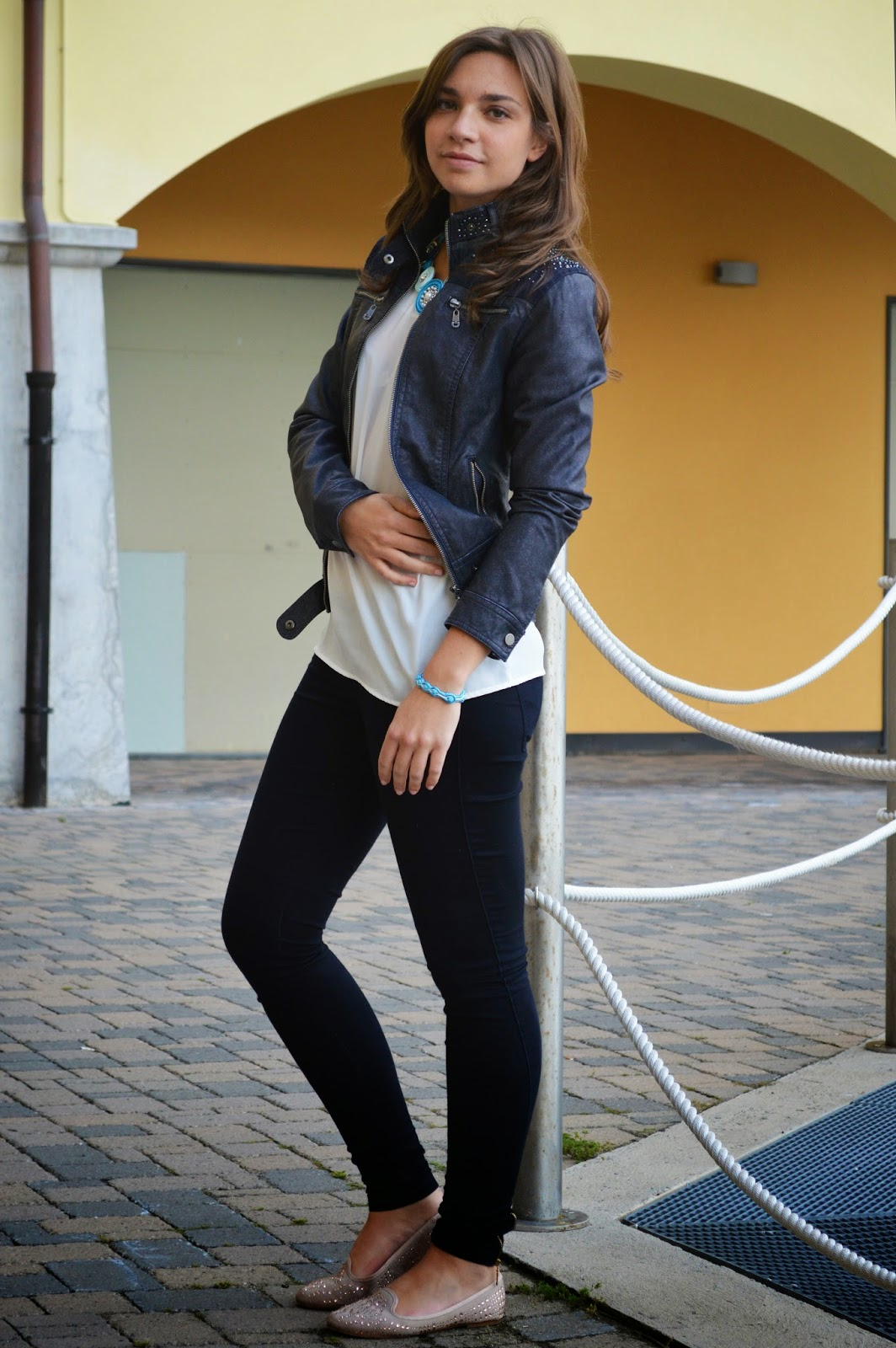 biker blue casual outfit