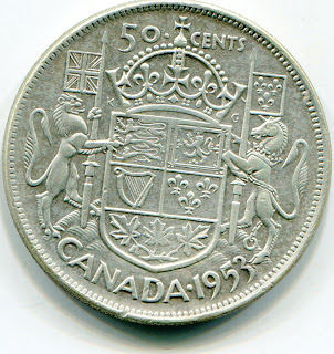 Canada 50 Cents 1953 SF Large date lotjun4578
