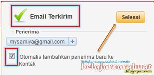 Konfirmasi Pengiriman Email Yahoo Berhasil
