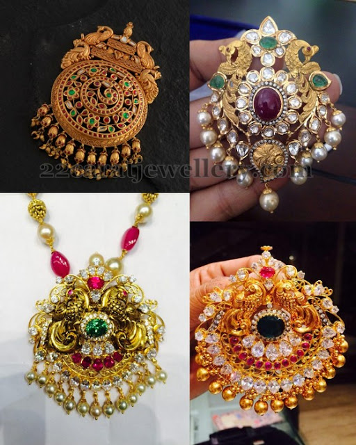 Antique Work Gold Pendants 35 to 40gms