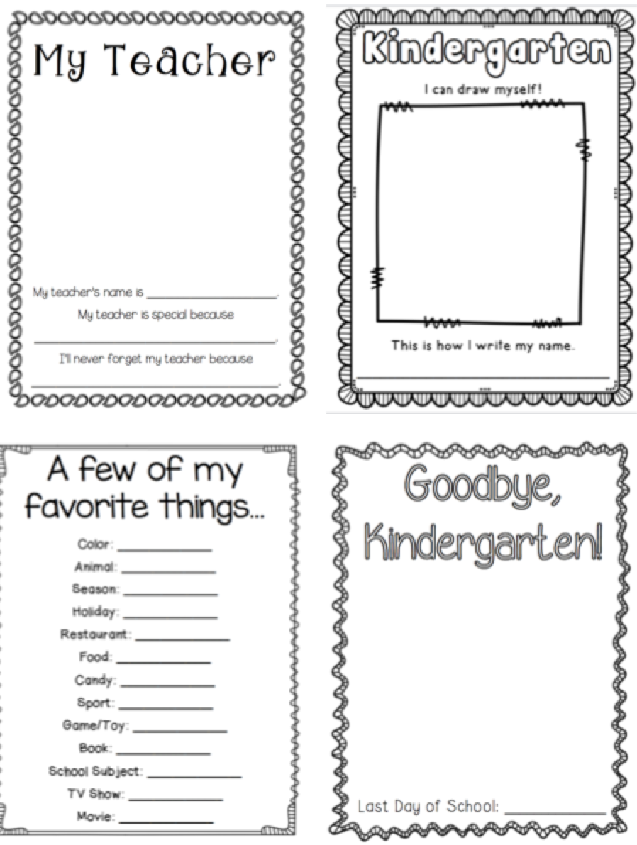 kindergarten memory book thehappyteacher. Black Bedroom Furniture Sets. Home Design Ideas