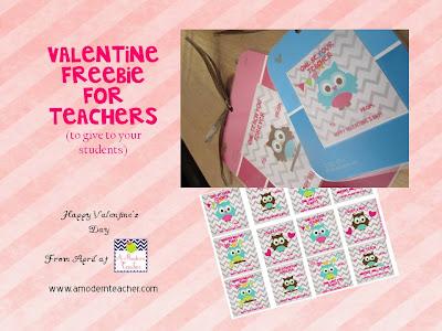 Valentine Freebie for teachers www.amodernteacher.com