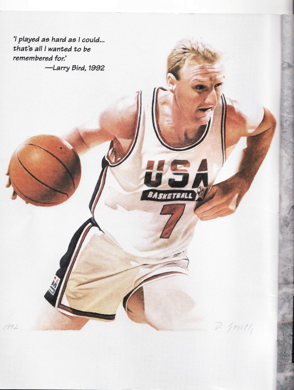 Larry Byrd for team USA in Beckett Basketball Monthly