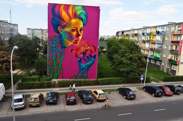 """SpellBound"" New Street Art Mural By Natalia Rak In Turek, Poland."