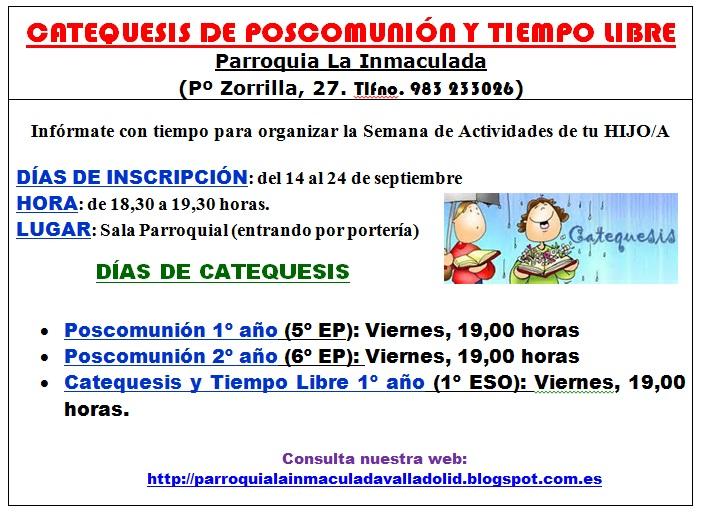 Curso Pastoral 2015-2016. Inscripciones Poscomunión