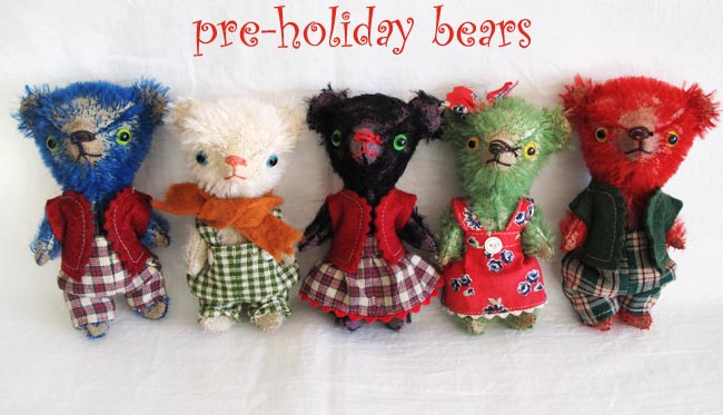 vintage style mini stick mohair bears
