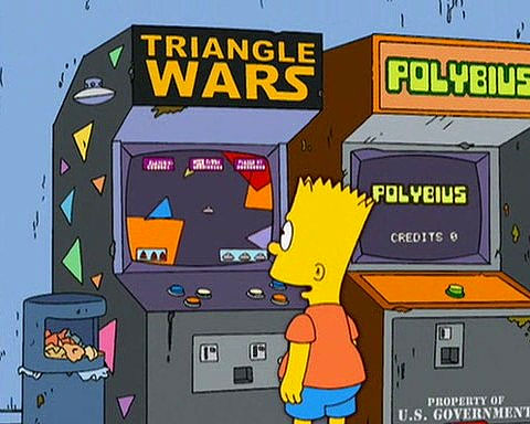 Image of Polybius in The Simpsons, seemingly a one-switch game.