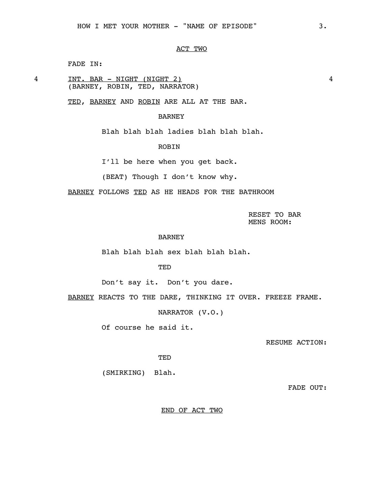 movie script writing template