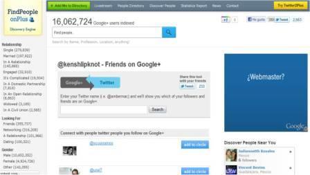 Encontrar en google plus a nuestros seguidores de twitter