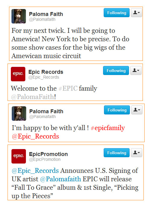 Paloma Faith Twitter US Record Deal