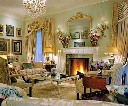 Georgian style homes and interior classic living room furniture, drapes curtain