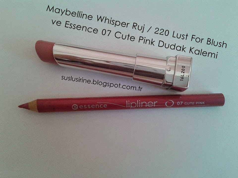 maybelline whisper 220 lust for blush ruj ve essence 07 cute pink dudak kalemi