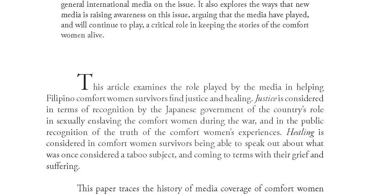 Essay on comfort women