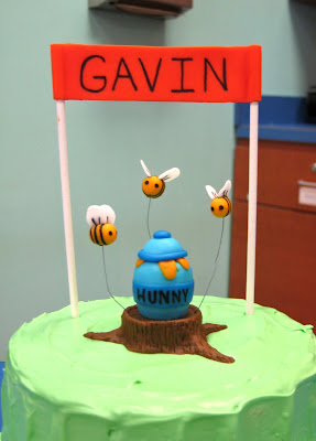 Winnie the Pooh Marching Band Cake - Banner, Bees, and Honey Pot