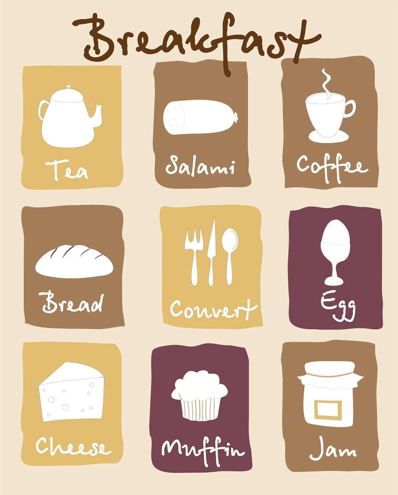 手書きの朝食メニュー breakfast lovely pictures vector イラスト素材