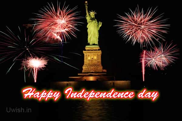 Happy Independence day USA e greetings and wishes with fireworks