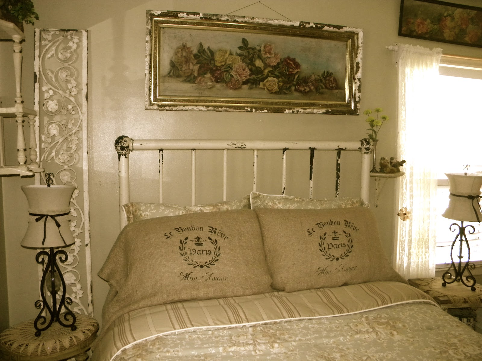 Peaceful Bedrooms Hung With Rosies Paintings : Peaceful Bedrooms Hung With Rosies Paintings : Antique Iron Bed ...