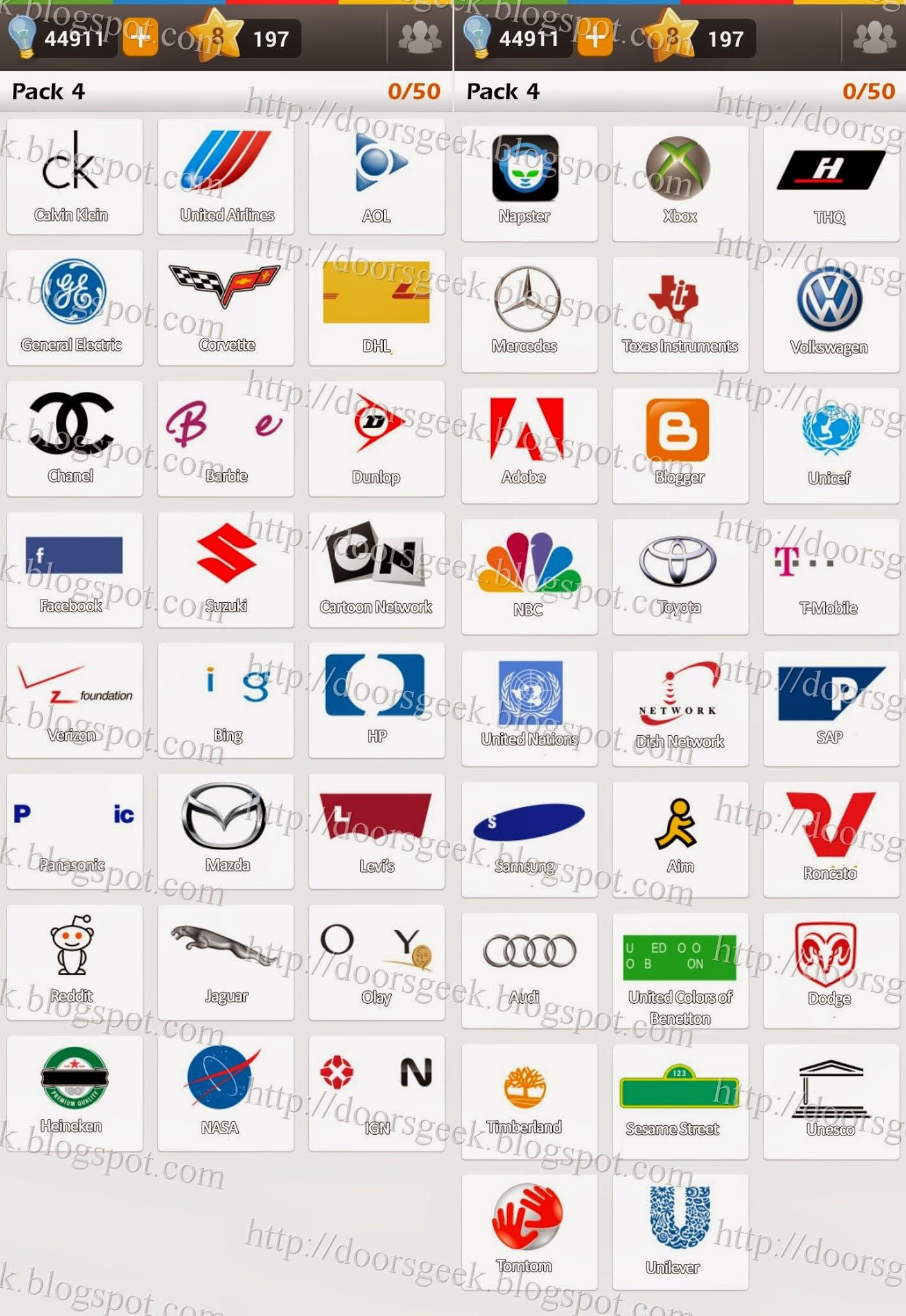 Extrêmement Logo Game: Guess the Brand [Regular] Pack 4 ~ Doors Geek QV95