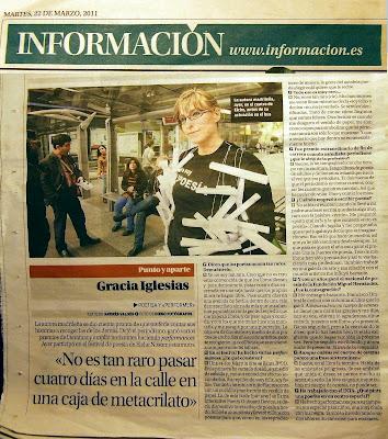 Información, diario, alicante, última página, Gracia Iglesias, performance, Nosomostanraros, festival de poesía, Elche, Centro de Cultura contemporánea El Escorxador