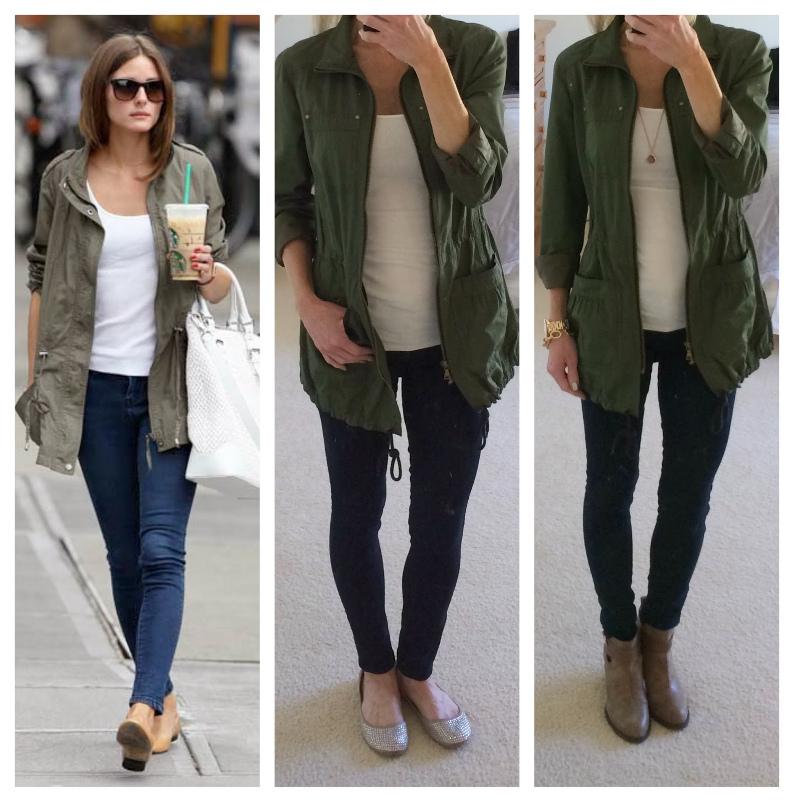 military jacket, express cotton anorak jacket, olive jacket, olivia palermo style, duplicate outfit, copycat outfit