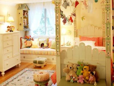 dormitorio niña verde y crema