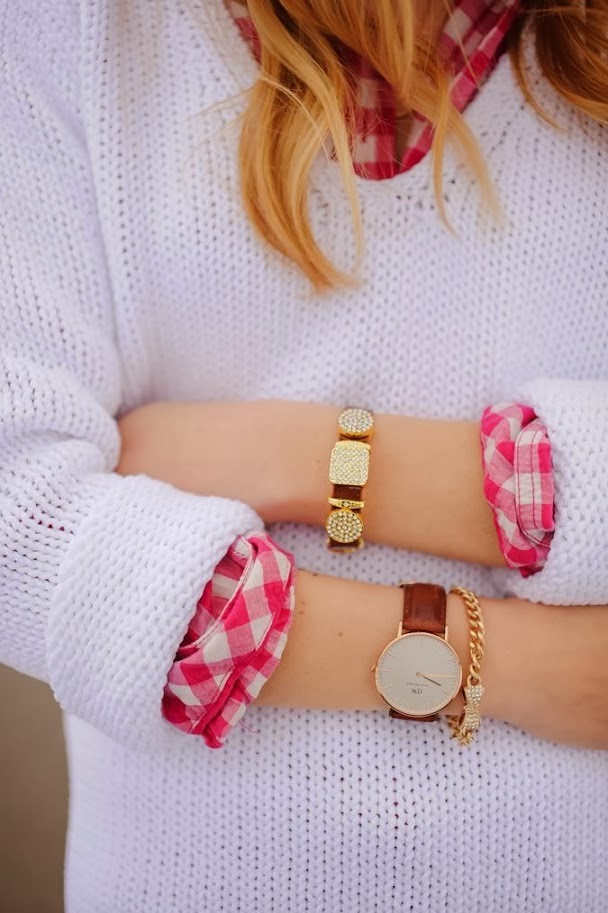 Amazing White Sweater, Suitable Shirt and Accessories (Golden Women Watch and  Bracelets)