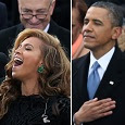 Barack Obama listening to Beyoncé.