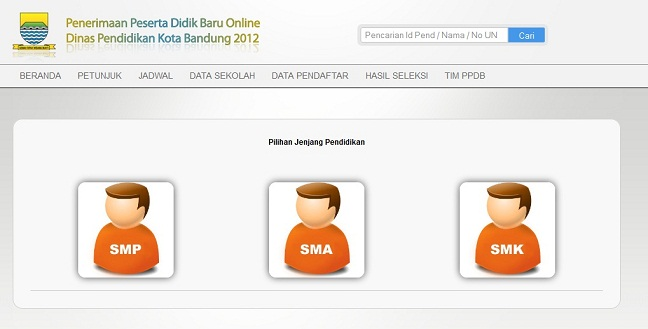 PPDB Kota Bandung - Pengumuman Hasil Seleksi PPDB Bandung 2012 Online SMP SMA SMK