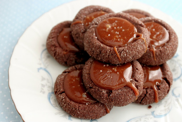 The Busty Baker: Chocolate Salted Caramel Thumbprints