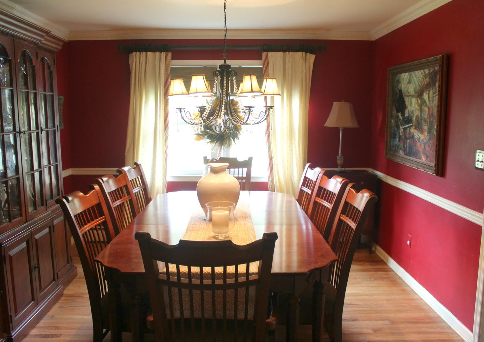 21 rosemary lane all the way with boothbay gray for Dining room ideas with red walls