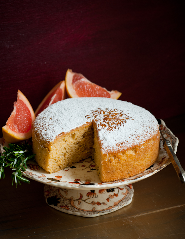 Grapefruit Rosemary Olive Oil Cake | dessertcrisis