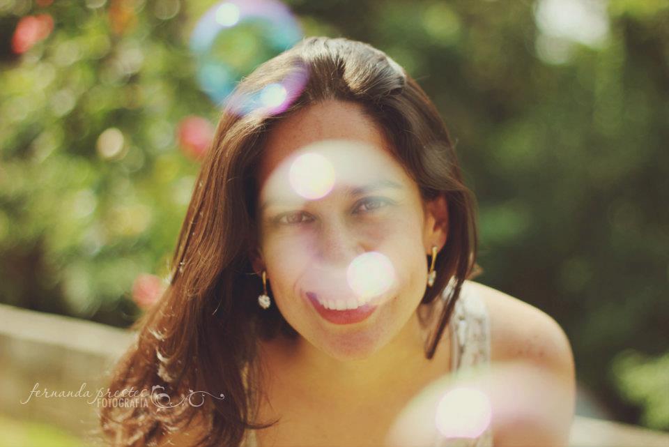 girl inside a soap bubble
