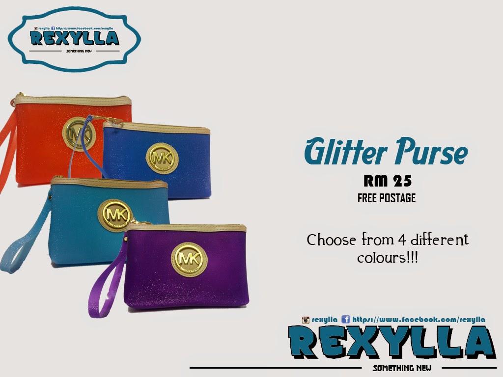 rexylla, glitter purse