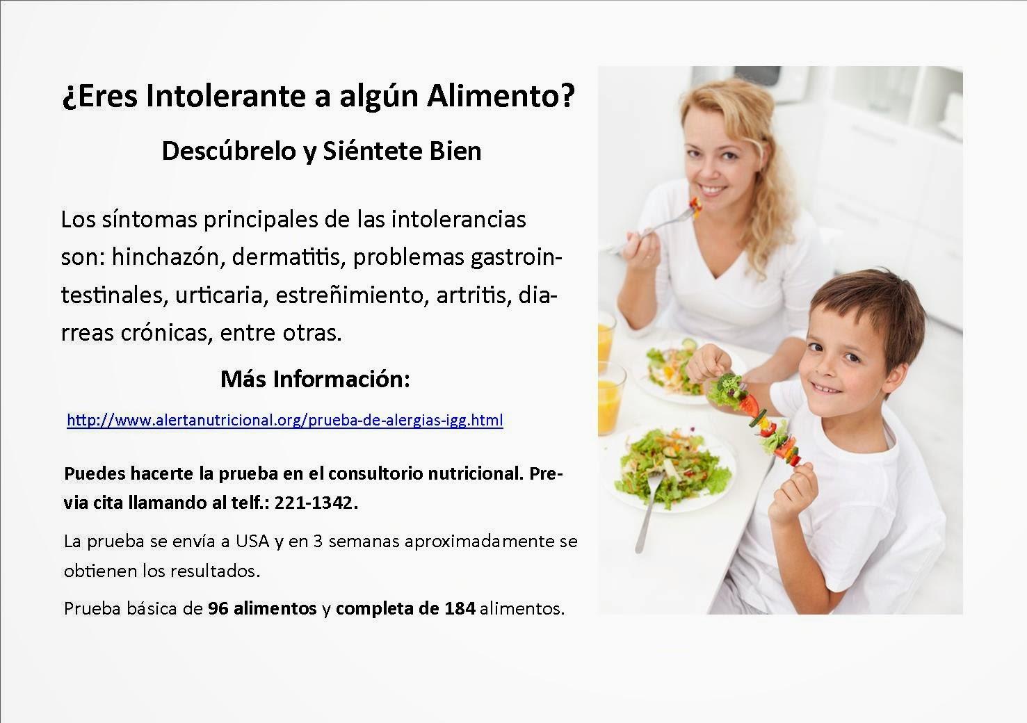 Intolerancias Alimentarias 96 ó 184 alimentos