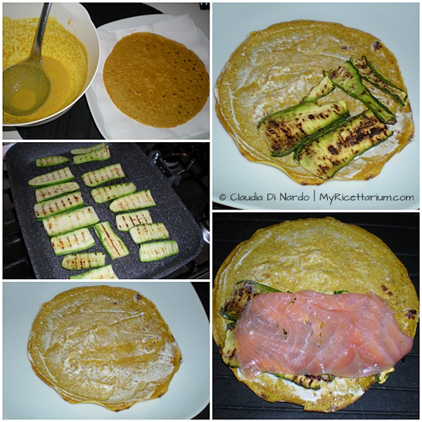Crepes integrali con salmone e zucchine