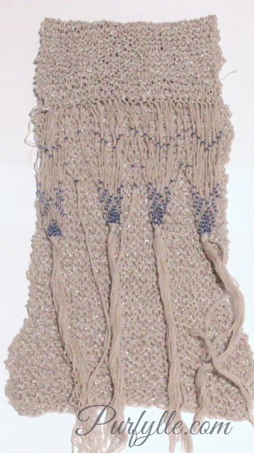 knitted scarf with beaded fringe in silver and dove grey with blue beads