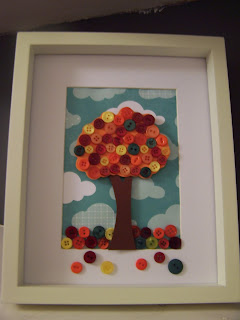 Autumn Fall Button Tree Picture Craft