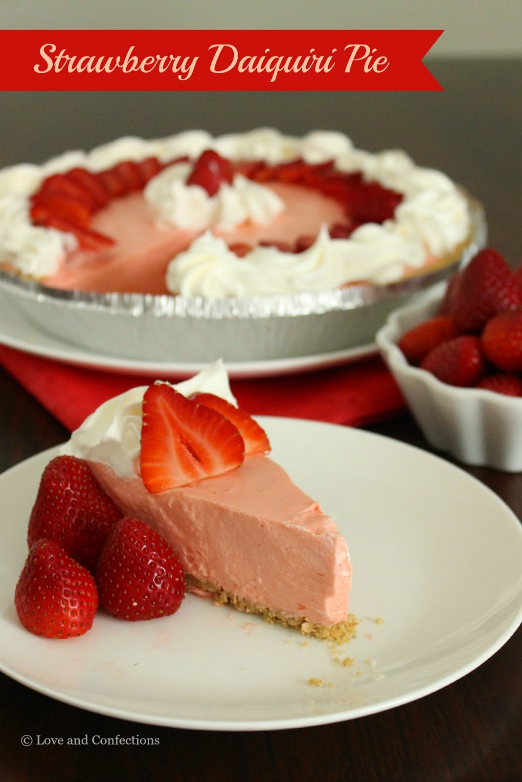 Strawberry Daiquiri Pie from LoveandConfections.com