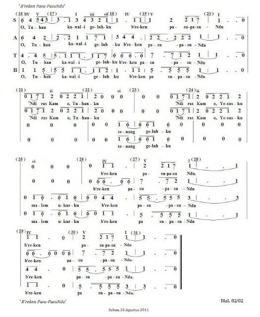 Partitur Lagu Rohani Karo: B'reken Pasu-pasuNdu (SATB)_02