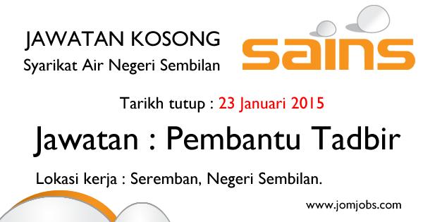 Jawatan Kosong Syarikat Air Negeri Sembilan 2015 Terkini