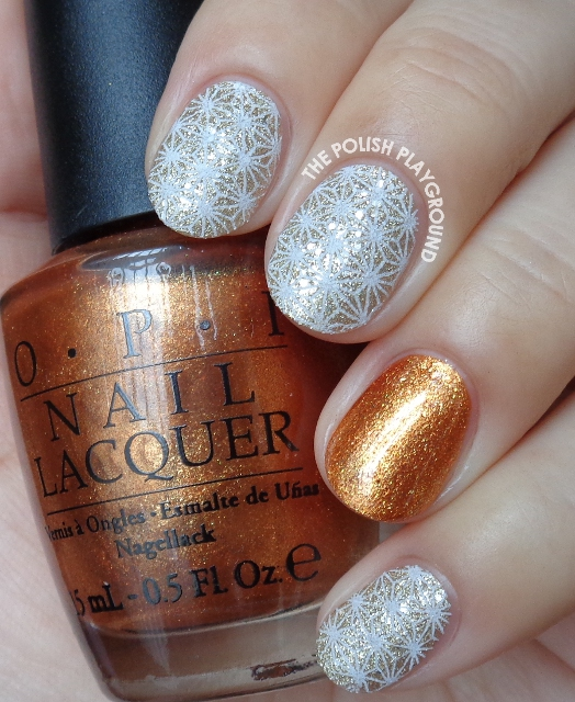 Champagne Texture & White Star Pattern Stamping Nail Art