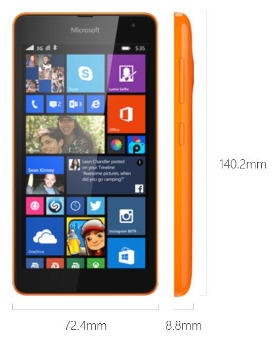 Dimensi Microsoft Lumia 535