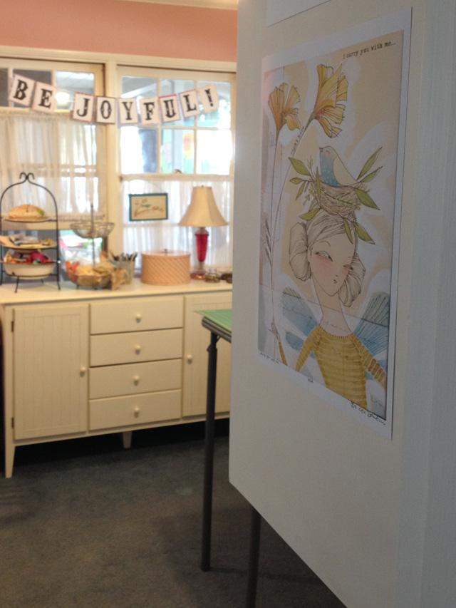 Mama Bleu Designs studio with a print by Cori Dantini
