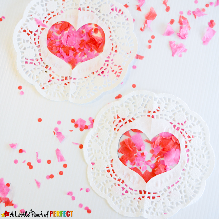 Tissue Paper Heart Doilies Valentines Craft For Kids