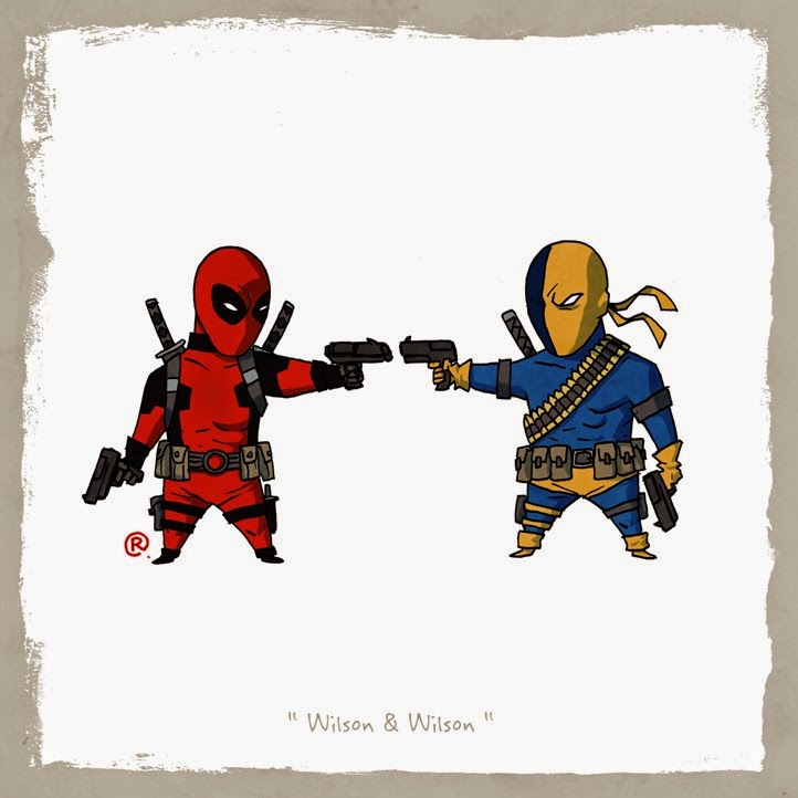 Deadpool and Deathstroke aiming for each other with handguns