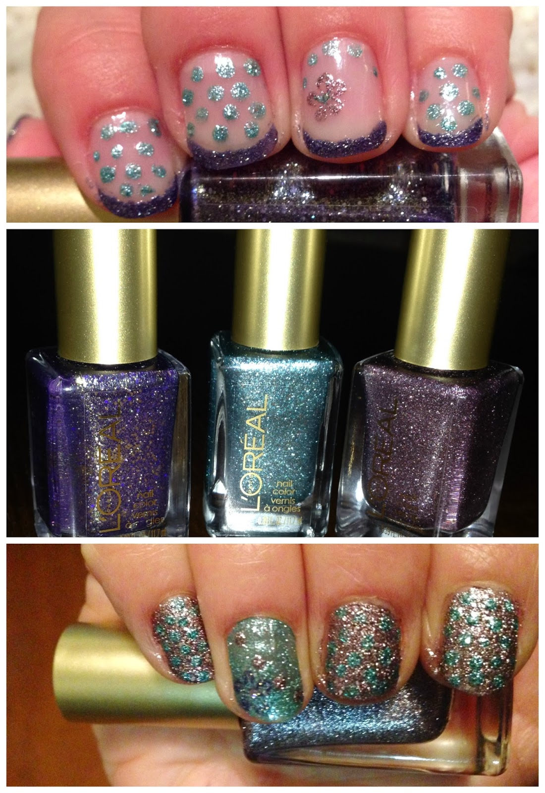 nail polish, manicure, l'oreal, gold dust, diamond in the rough, pop the bubbles, too dimensional