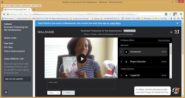 Skillshare class freebie - solopreneur financing